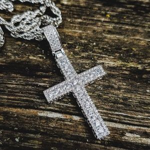 Silver Simulated Diamond Channel Cross Necklace